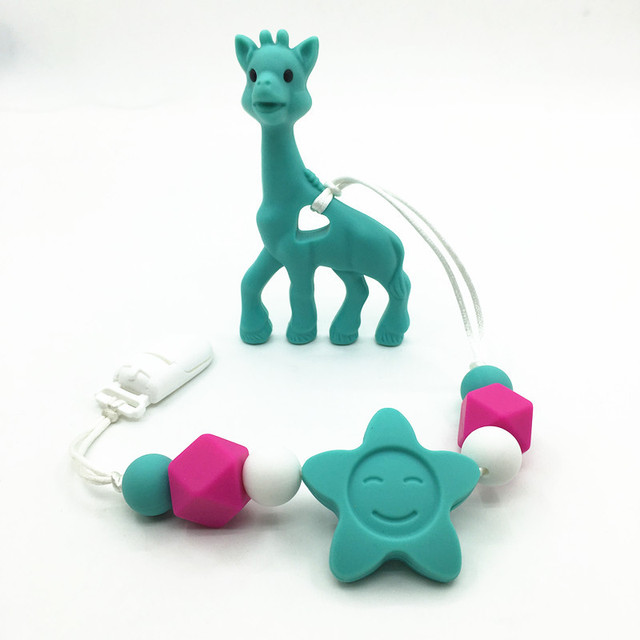 Bpa silicone baby teething pendant clips silicone teething bpa silicone baby teething pendant clips silicone teething pacifier clip with large giraffe pendant heart chew mozeypictures Gallery