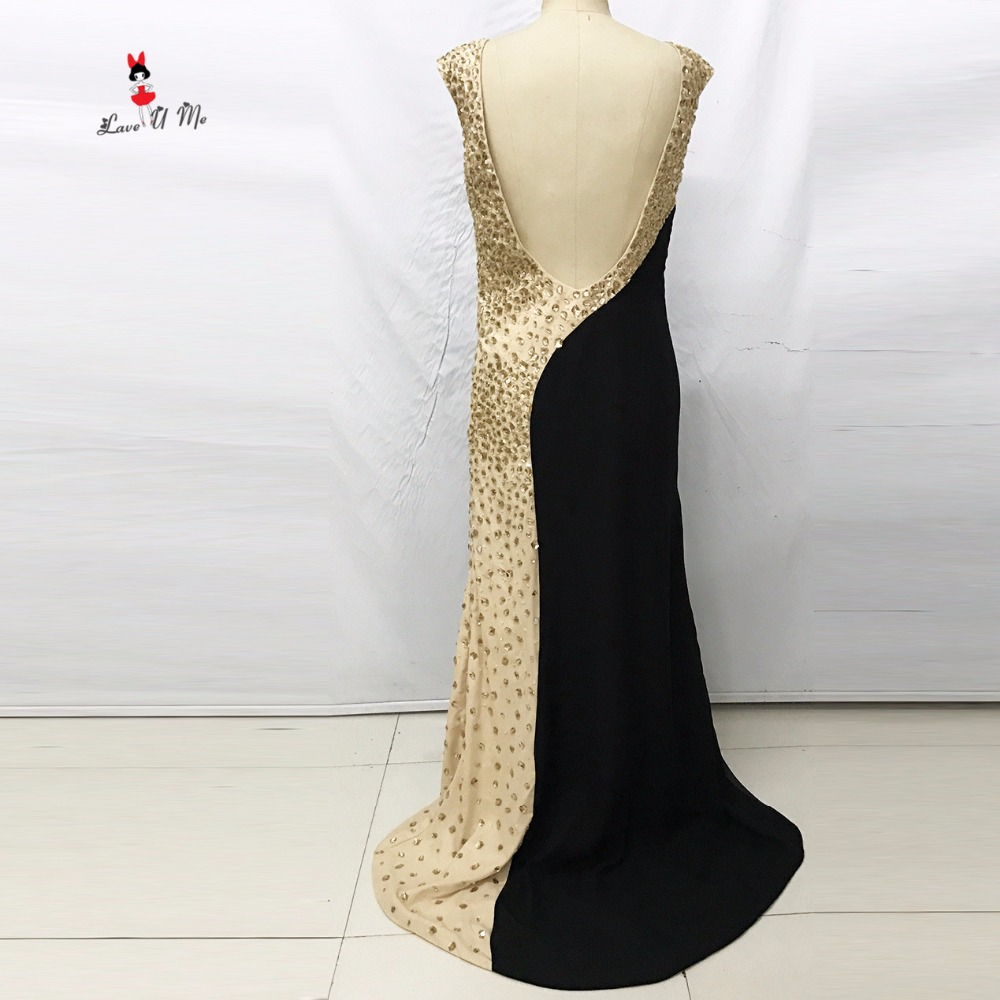 Vestido de Menina Sexy Black Crystals Evening Dresses Long Mermaid ...