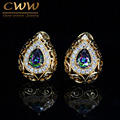 Luxury Mystic Created Topaz Jewelry Hollow Out Yellow Gold Plated Oval Cubic Zirconia Simulated Diamond Earrings For Women CZ358