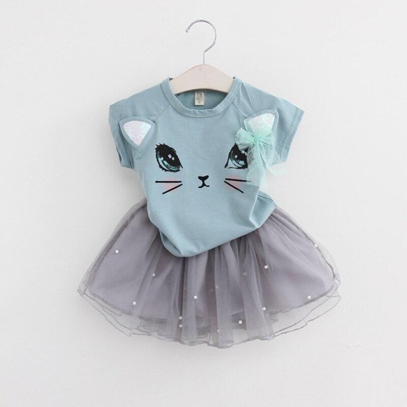 Menoea-2017-Summer-New-Baby-Girls-Clothing-Sets-Fashion-Style-Cartoon-Kitten-Printed-T-ShirtsNet-Veil-Dress-2Pcs-Girls-Clothes-2