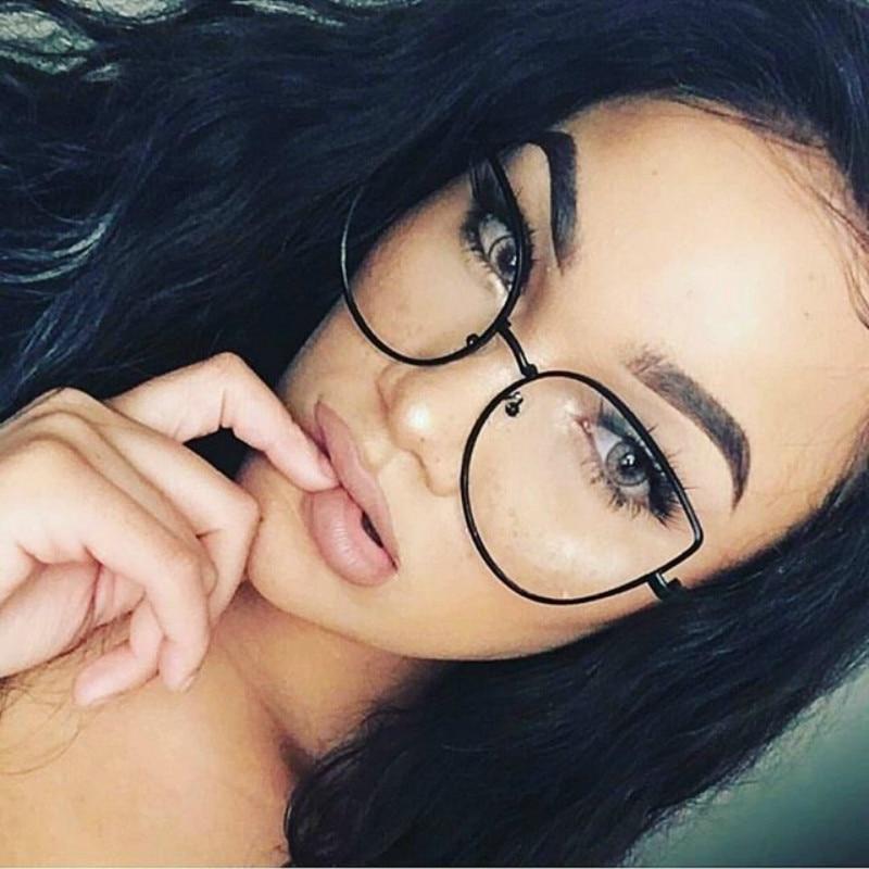Clear Glasses Frame Women Cat Eyeglasses Metal Oversize Myopia Optical Clear Transparent Lens Glasses Frame Fake Oculos De Grau