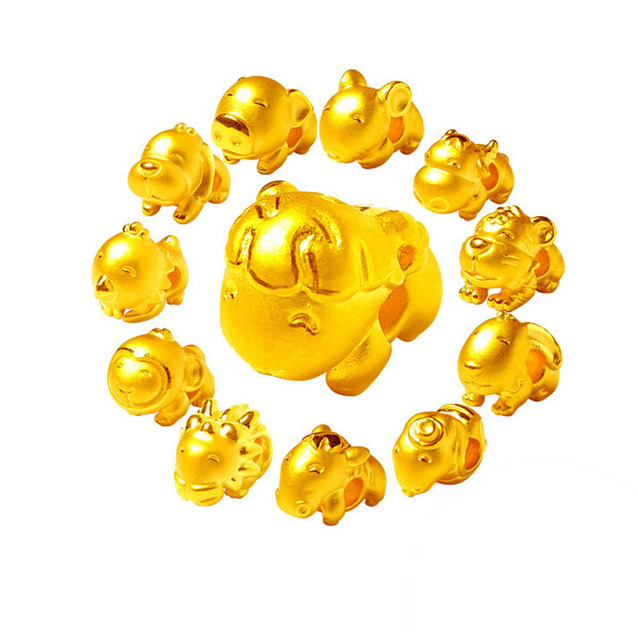 3D 999 24K Yellow Gold 12 Chinese Zodiacs Pendant 1PCS 1.35g