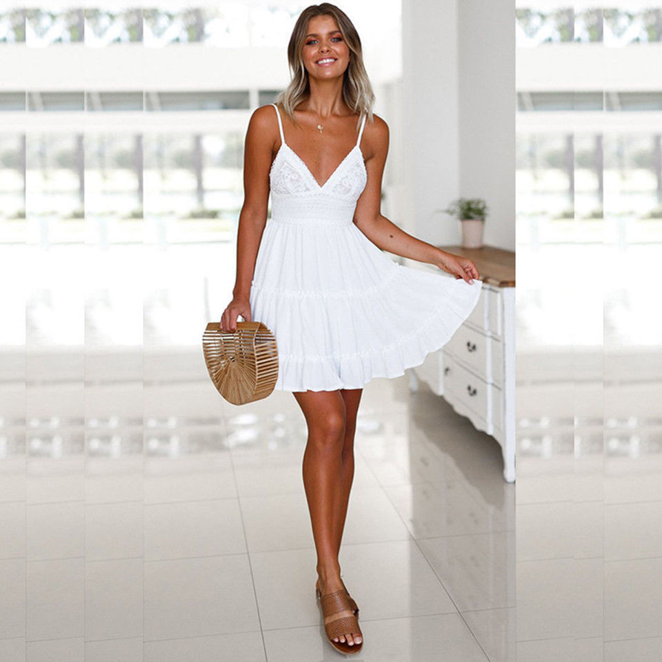 S 5XL Sexy Summer Beach Dress Bikini Cover Up Beachwear Woman Sling Backless Bow Short Chiffon Swimsuit Dress Coat in Cover Ups from Sports Entertainment