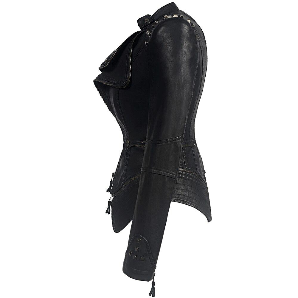 D'hiver Cuir D'extérieur Rosétique Automne Pu Gothique Chaqueta Moto Noir Femmes Simili Veste Manteaux Faux rqqM6FtXU
