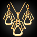 U7 cristal precioso ángel de la joyería para las mujeres oro amarillo plateado cubic zirconia conjuntos collar pendientes al por mayor s920
