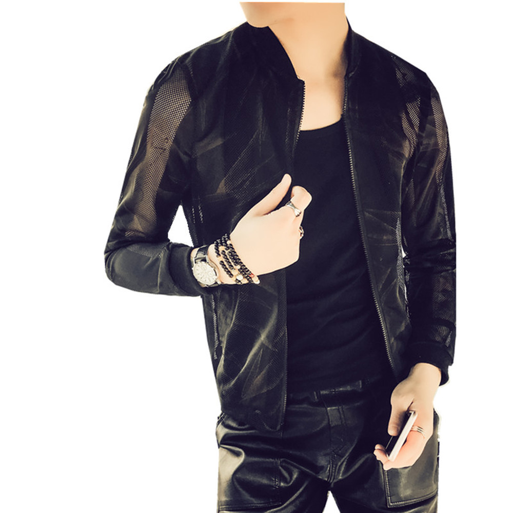 Mens Summer Mesh Holllow out Casual Coats Zip Up Breathable jackets Tops Outwear