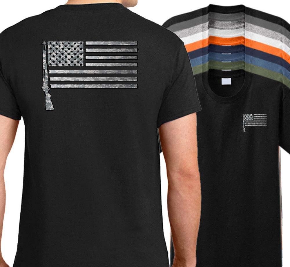 3c54adf169f6c5 Горячая Распродажа 2019 из 100% хлопка с принтом США M1 Гаранд флаг с  изображением винтовки Футболка-американский винтовка рубашка военное оруж.