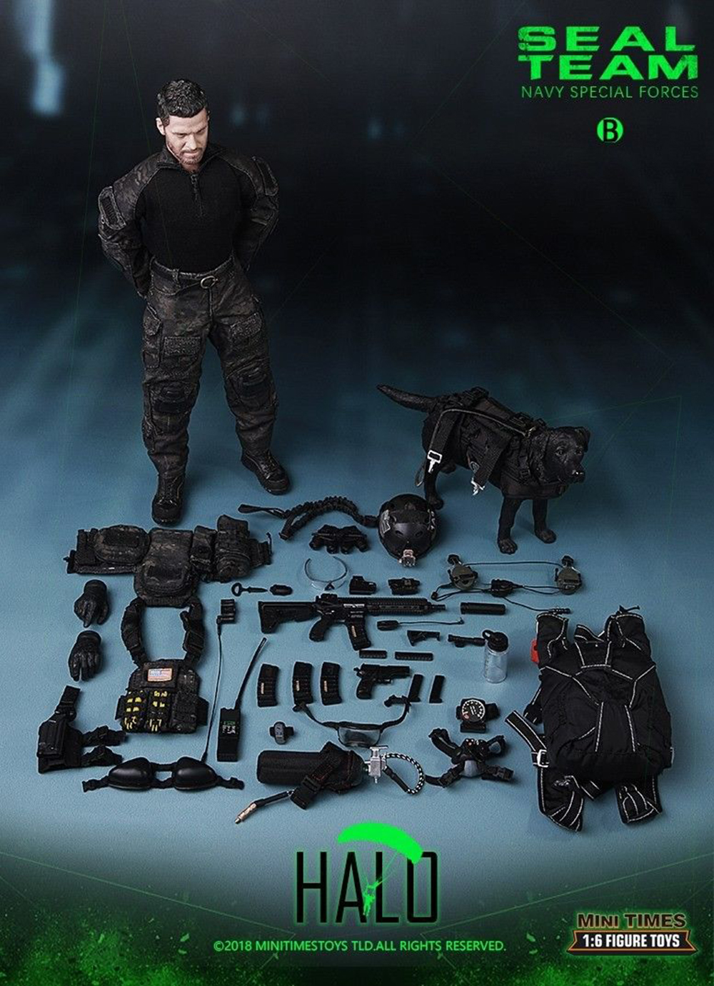 Full set with police dog mini times toys M013 1/6 Navy Special Forces Seal Team B Figure Full Set Collection Doll Toys Gift 1