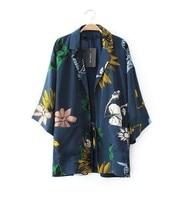 Kimono Cardigan 2014 Fashion Women Summer Spring Jacket European Style Chiffon Blouse Floral Print Blusas De