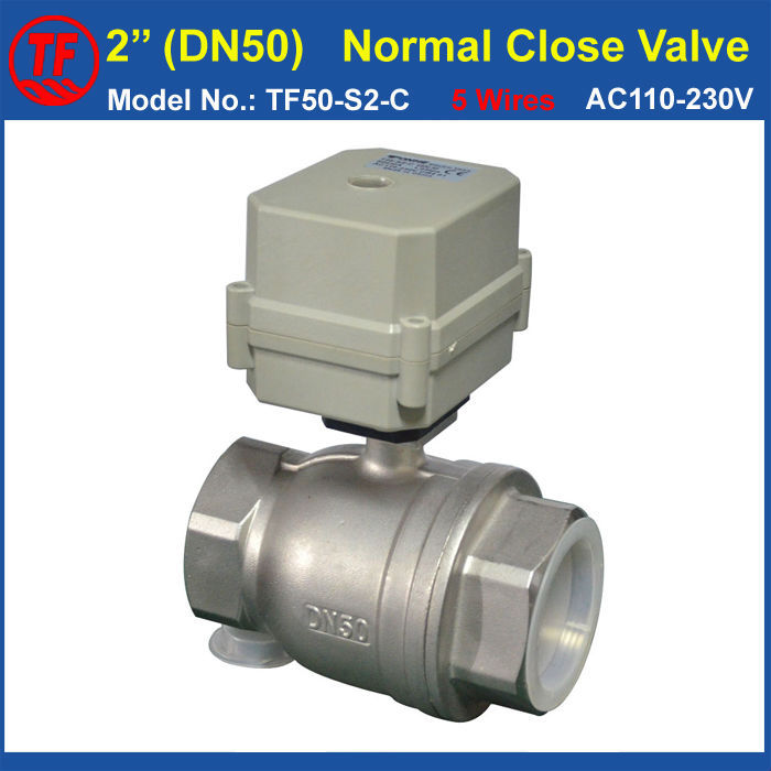 Normal Close Valve SS304 2'' AC110V-230V 5 Control Wires With Signal Feedback DN50 Electric Actuated Valve BSP or NPT Thread CE ac110 230v 5 wires 2 way stainless steel dn32 normal close electric ball valve with signal feedback bsp npt 11 4 10nm