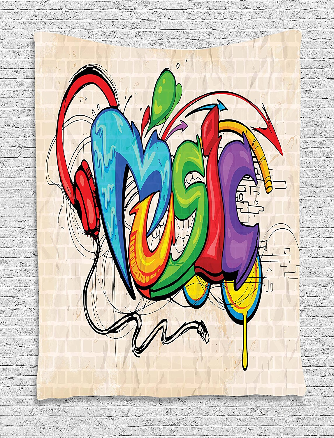 Music tapestry by illustration of graffiti style lettering headphones hip hop theme on beige bricks wall hanging for dorm in tapestry from home garden