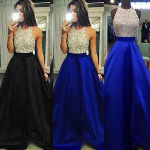 0a180c274d2 2018 New Fashion Women Sequined Dress Formal Wedding Bridesmaid Sequin Ball  Gown Maxi Dress Woman Sleeveless