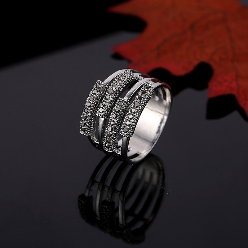 Rhinestones multiple layers women rings antique silver color zinc alloy female ring vintage wedding party jewelry feminino