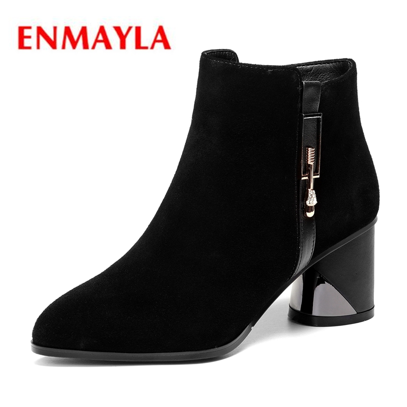ENMAYLA Round Toe  Zip  Cow Suede  Ankle  Women Shoes  Square Heel  Booties  Winter Shoes Women  Size 34-43 ZYL1936ENMAYLA Round Toe  Zip  Cow Suede  Ankle  Women Shoes  Square Heel  Booties  Winter Shoes Women  Size 34-43 ZYL1936