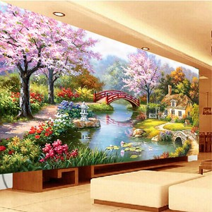 Image 3 - QIANZEHUI, רקמה, DIY נוף תפר צלב, אירופאי ציור שמן גן בקתת, סטי ערכת רקמה, קיר בית Decro