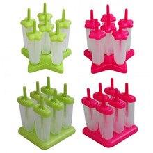 Helado Popsicle Moldes 6 Seguridad de la Categoría Alimenticia PP Material de BRICOLAJE Rojo y Verde (cuadrado/forma de Estrella Inferior)