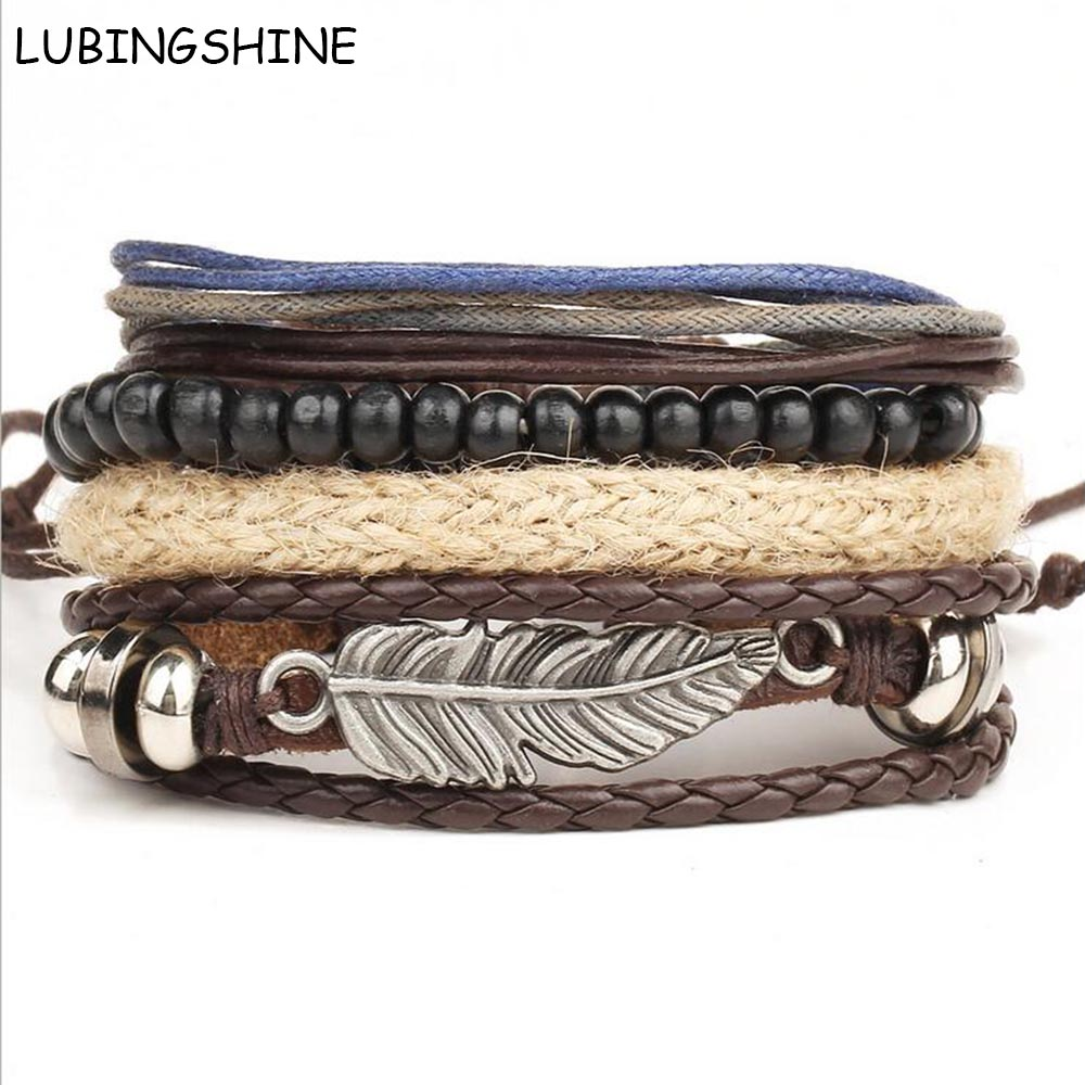 LUBINGSHINE Braided Wax Rope Bracelets Men