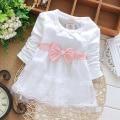 Kids Dresses for Girls Long Sleeve O-Neck with Bow Chiffon Brief Robe Fille Enfant Vestidos Infantil Infant Party Dress