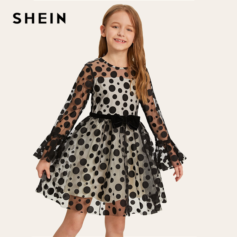 SHEIN Kiddie Mesh Overlay Polka Dot Sheer A Line Party Girls Dress 2019 Spring Long Sleeve Flared Mini Kids Dresses For Girls fashionable round neck long sleeve polka dot pattern dress for women