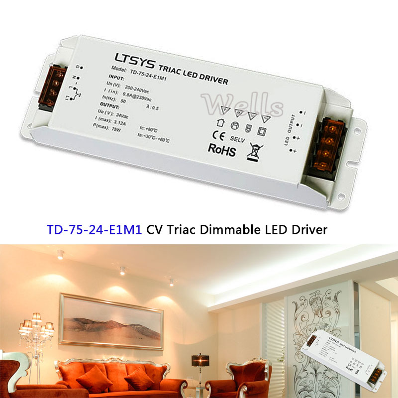 цена TD-75-24-E1M1 intelligent led Driver 24VDC 3.1A 75W constant voltage Triac Dimmable LED Driver Triac Push Dim