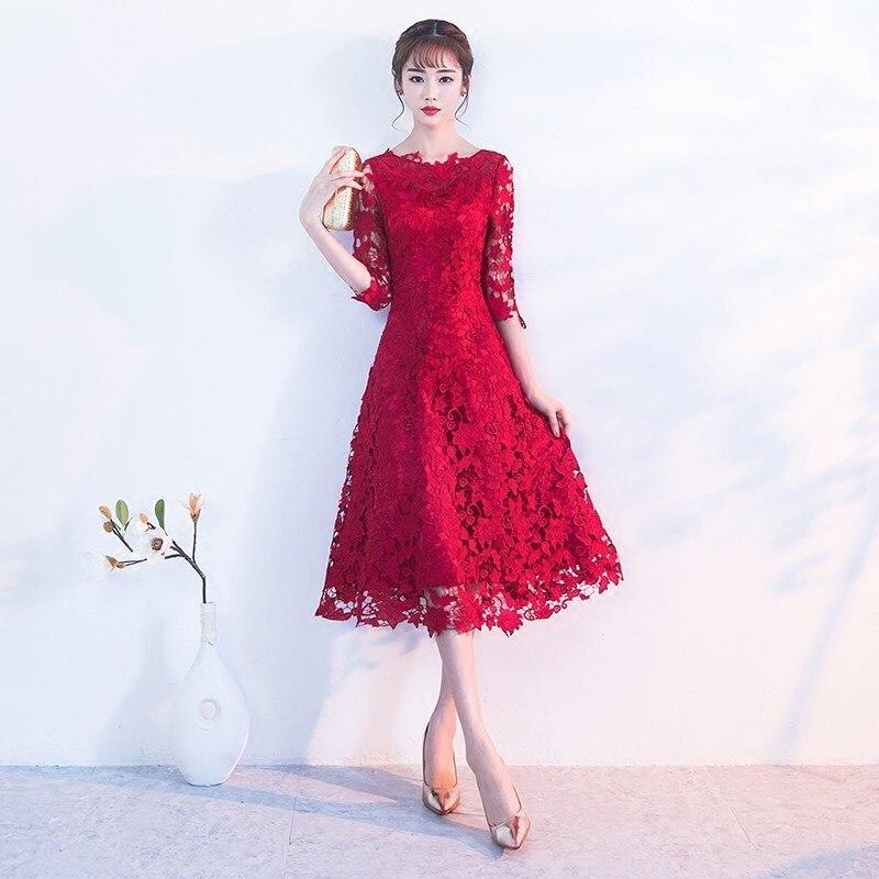 Broderie rouge chinois robe Qipao Sexy Cheongsam robes décontracté femmes dentelle traditionnelle robe de soirée Vestido Oriental mariage