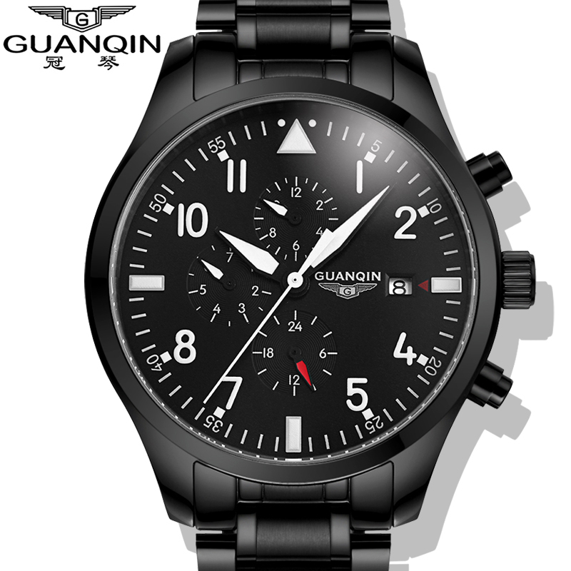 Watches Men 2015 GUANQIN Army Watches Full Steel Sport Military Men Wristwatch Black Automatic Mechanical Movement Luxury Brand men automatic mechanical movement watches 2016 luxury brand guanqin genuine leather strap sport military army watches