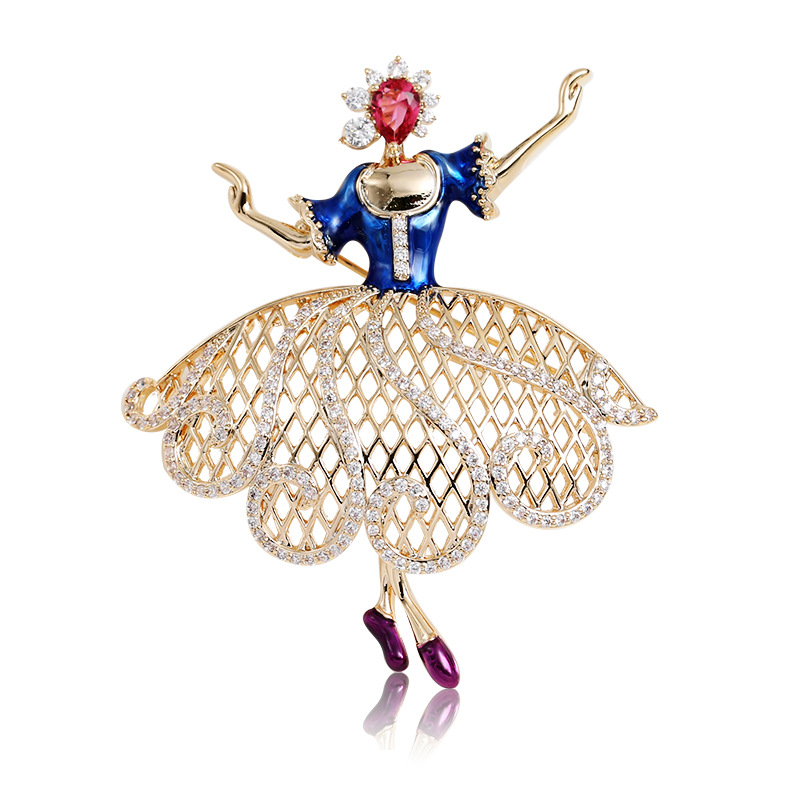 Luxury Dancing Girl Fairy Crystal CZ Large Collar Lapel Pin Brooches for Women Suits Men Pins and Brooches Broach Jewelry X087