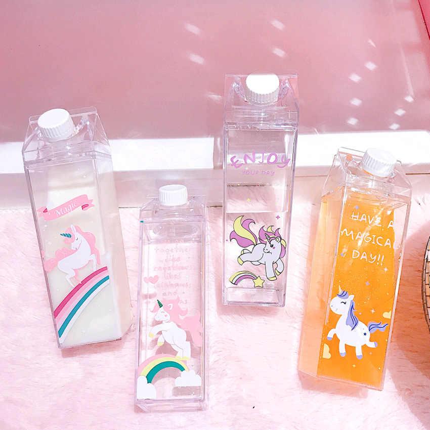 500 مللي أطفال لطيف قوس قزح يونيكورن زجاجة ماء الرياضة Garrafa De Agua خافق بلاستيكي محمول بلدي شرب زجاجة لزجاجة ماء ، Q