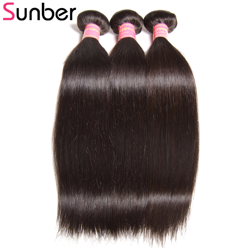 Sunber Weaves Hair-Bundles 8-30inch Straight Peruvian 3PCS Black-Color Can-Be-Permed