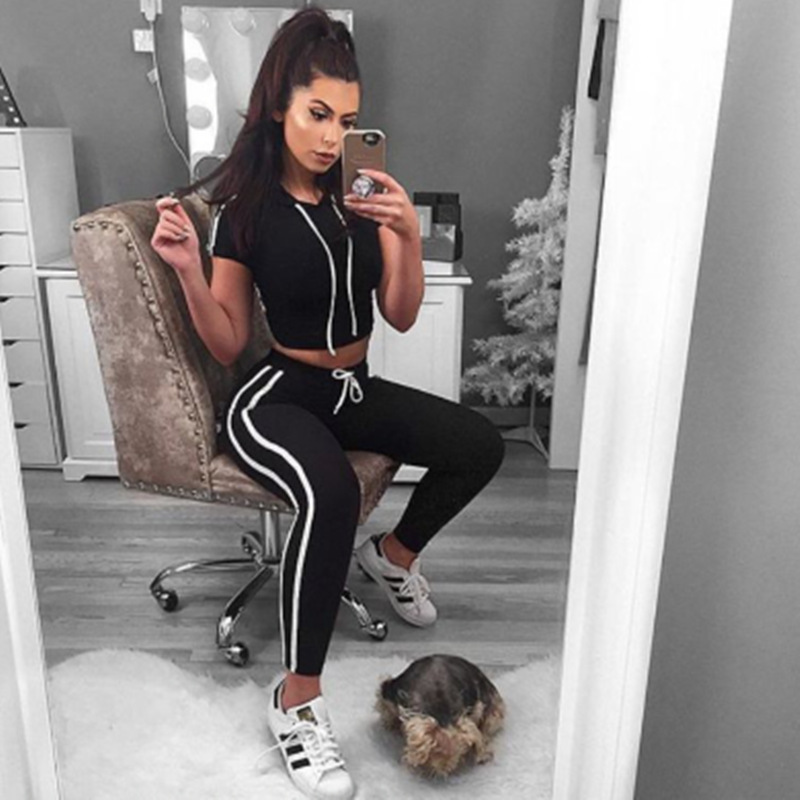 Womens Track Suit With Hood Crop Top and Legging Pants 2 Piece Set Summer 2017 Fashion Lady Cotton Suit Hooded Fitness Wear