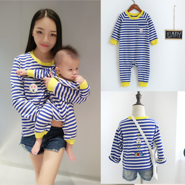 0-5T Spring New Family Fitted T-Shirts Mother Daughter Clothes Striped Fashion Baby Boy Girls Bodysuit Newborn Rompers