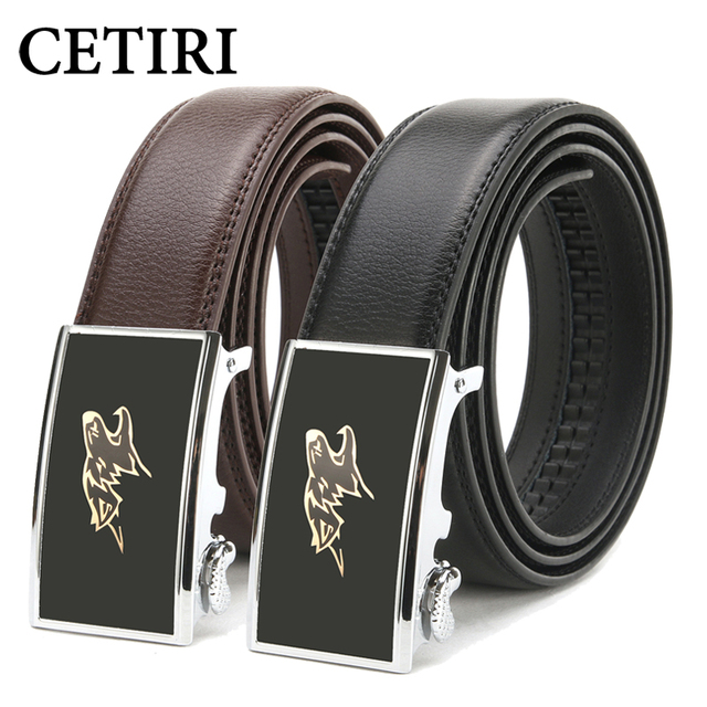 CETIRI Top Quality Cow Genuine Leather Men Ratchet Belts Fashion Animal  Wolf Automatic Buckle Belts Strap cinto Free Shipping 5d48206ccb