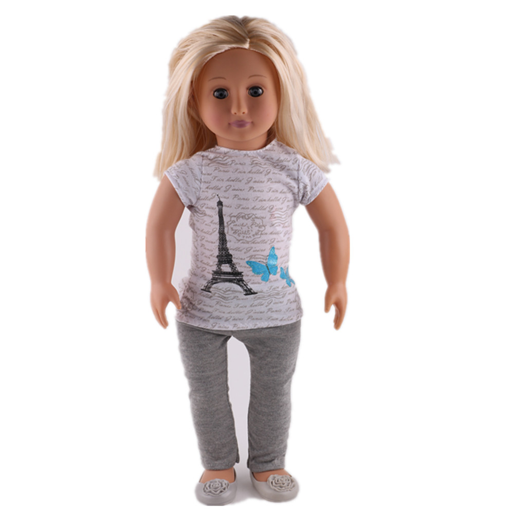 LUCKDOLL Tower Pattern T-Shirt+Tights Fit 18 Inch American 43cm BabyDoll Clothes Accessories,Girls Toys,Generation,Birthday Gift