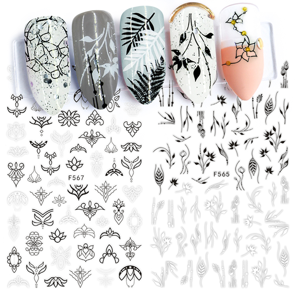 Tips Nail-Sticker Decoration Tattoos Floral Adhesive Geometry Manicure Full-Wraps Black