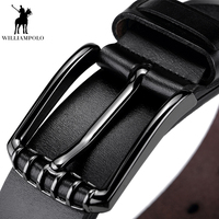 WilliamPolo Cow genuine leather luxury strap male belts for men new fashion classice vintage style pin buckle men belt PL075 76P