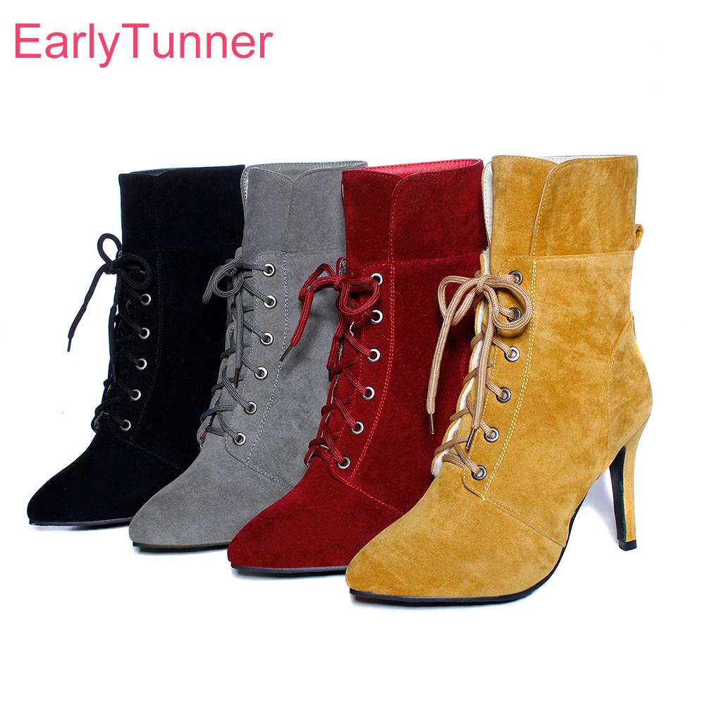 Brand New Winter Sexy Red Gray Women Ankle Riding Boots Comfortable Super Spike High Heel Lady Nude Shoes EHB31 Plus Big Size 43 brand new winter quality women mid calf wedges boots fashion black red beige lady riding shoes eym02 plus big size 10 43