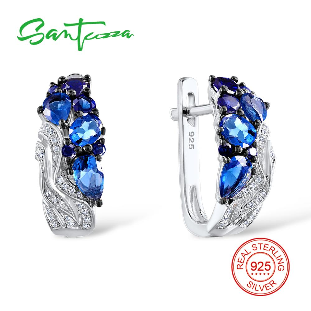 Santuzza Silver Stud Earrings for Women Blue Nano Cubic Zirconia Stones Ladies Pure 925 Sterling Silver Party Fashion Jewelry