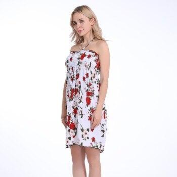 2019 verano otoño mujer vestido moda estampado Sling vestido Sexy doblado rodilla longitud rojo flor mujer vestido playa