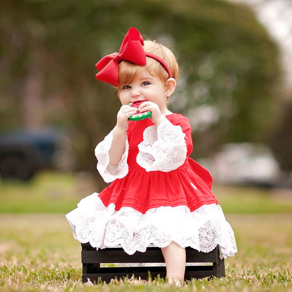Fashion print Toddler Kids Baby Girl Long Sleeve Lace Princess Dress Christmas Outfits Clothes 1PC Dress +1PC Headband Cute #35 tribal print long sleeve sheath dress
