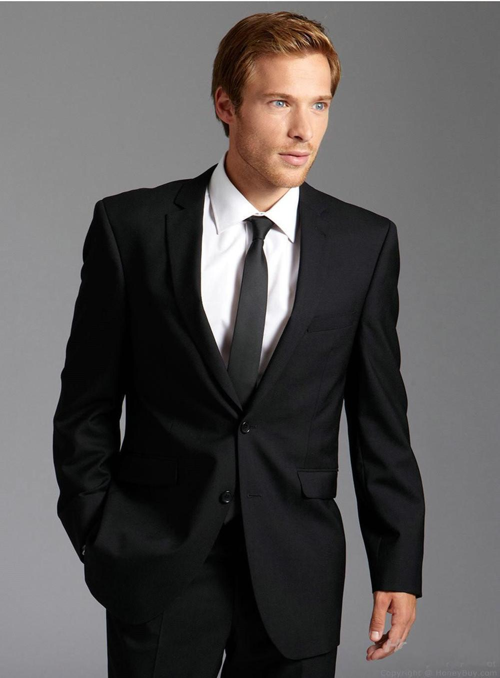 New Arrival Black Wedding Suits For Men Notched Lapel Mens ...