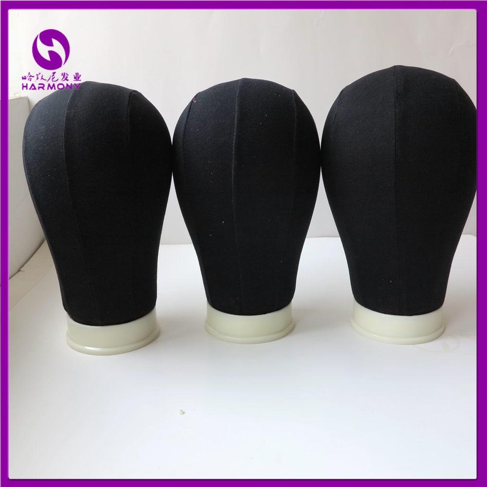 1 Stycke Svart 21 '' - 25 '' Canvas Block Mannequin Head Cotton - Hårvård och styling - Foto 3