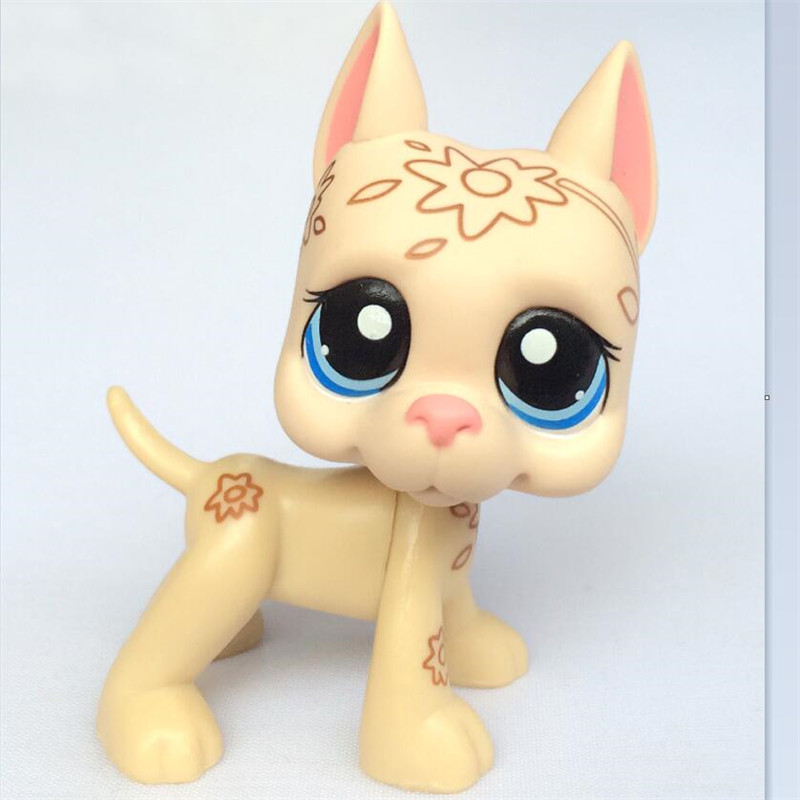 2019 LPS Rare Toy Little Cream White Great Dane Dog Yellow Bule Eyes Animal Pet Shop Lps Toys For Kids