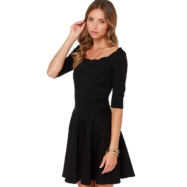 f6f8f7a1d04b Novelty Dress Scallop Sleeve Dress Knitted Casual Mini Women Vestidos Plus  Black Dresses Collar Winter Autumn Clothing rSmM