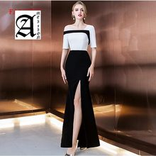цены Ameision new evening prom long party style Criss-neck 2019 black half sleeves little white dresses sexy side slit frock