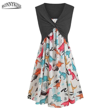RONNYKISE Two Pieces Floral Print Sundress Womens Fashion Sleeveless Bodycon Dress Summer Autumn Casual Sexy Dresses two tone smocked floral print dress