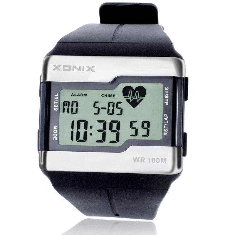 Модные часы с монитором сердечного ритма для мужчин, спортивные часы для здоровья, фитнеса, калорий, 100 метров, водонепроницаемые цифровые ч...
