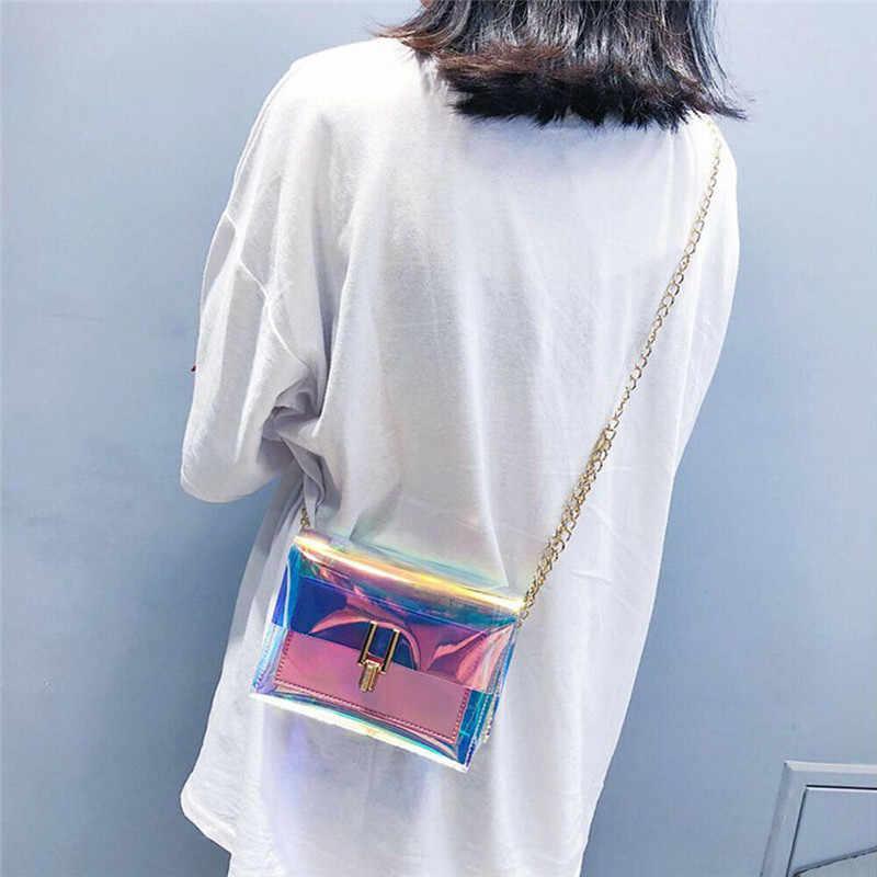 2019 Musim Panas Wanita PVC Transparan Rantai Messenger Tas Bahu Tas Jelly Tas Tangan