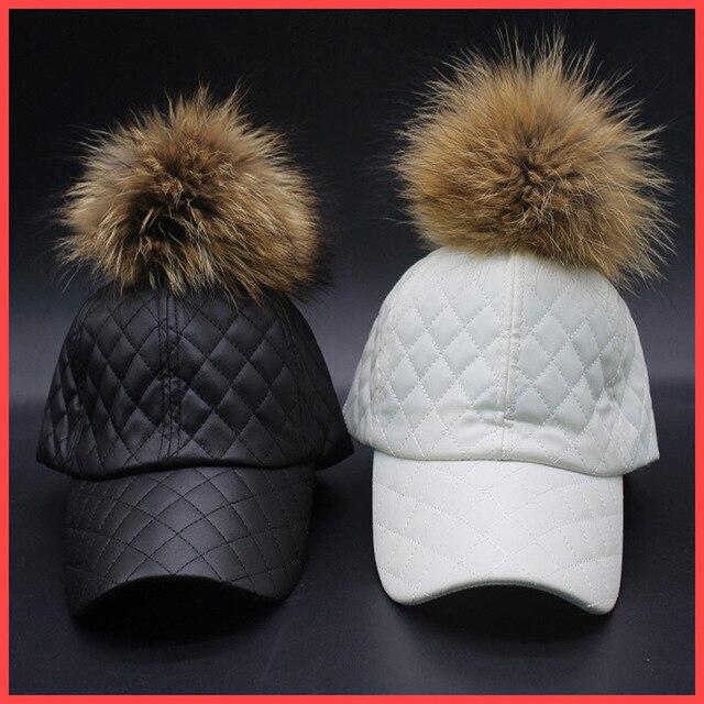 Fashion New 100% raccoon fur four seasons large Staining15cm ball Cortical Baseball caps visera hat woman bone snapback