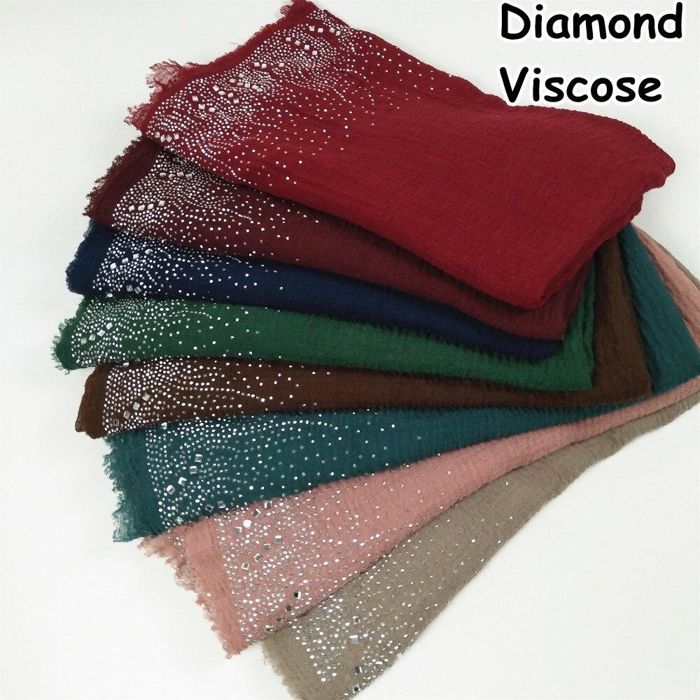 D12 High quality  Diamond viscose hijab scarf wrap shawl women nice sacrf scarves  lady wrap headband 180*90cm 10pcs/lot