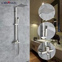 Никель Матовый Ванная комната смеситель для душа настенный смеситель душевой Системы